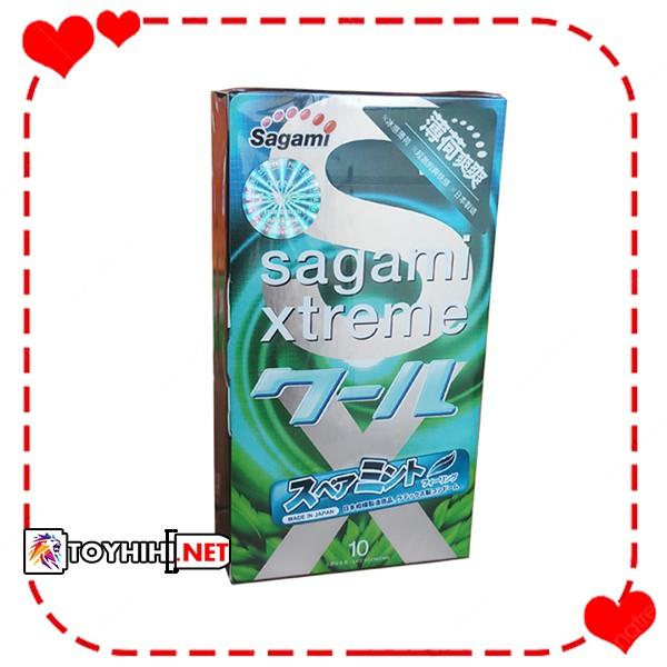 Bao cao su cao cấp Nhật bản Sagami Spearmint hương bạc hà dịu mát cực đã BCSTC23