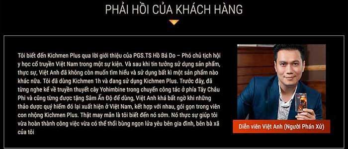 Diễn viên Việt Anh Phản hồi về Kichmen plus 2