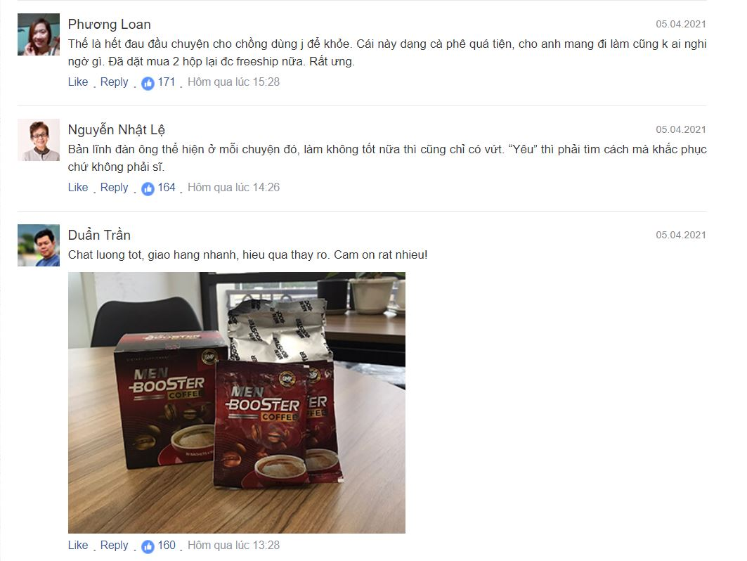 Phản hồi của khách hàng về sản phẩm Men Booster Coffee