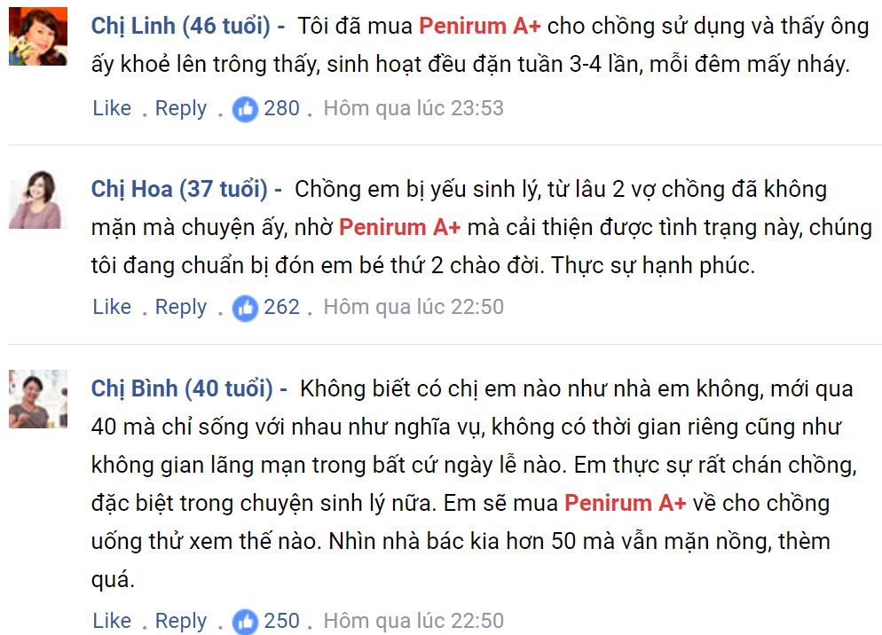 Phản hồi của khách hàng về Penirum A +